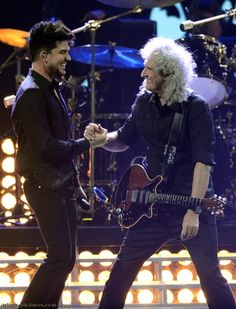 Brian May & Adam Lambert at iHeartRadio Music Festival Las Vegas. Click to view full size image | Source: adam-pictures.com