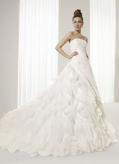 Wedding Dresses - $250.00 - Ball-Gown Strapless Cathedral Train Organza Satin Wedding Dress With Ruffle Lace Beading (00205000608)