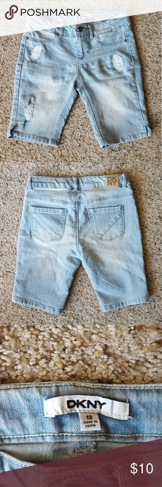 DKNY Lightwash Shorts Size 12 and in Good Condition! Has small slits on sides. Dkny Bottoms Shorts