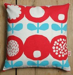 Image of Poppy print cushion in red and blue