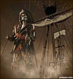 """So, it seems that Pirates of Caribbean 5 title will be """"Dead Men Tell no Tales"""", which seems appropriate for a POTC movie, isn't it? Pirate Skeleton, Pirate Art, Pirate Halloween, Pirate Skull, Pirate Life, Pirate Ships, The Pirates, Pirates Cove, Pirates Of The Caribbean"""
