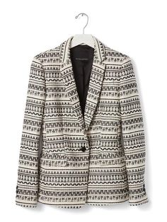 A black and white jacquard patterned blazer can add texture to your spring style. Throw it over a lightweight sweater and classic jeans for a polished yet casual weekend outfit | Banana Republic
