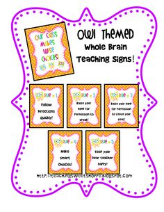 Owl Themed Whole Brain Teaching Signs for the classroom!  Bonus Sign:  Our Class Makes Wise Choices