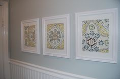 Art made from framing cloth napkins.  Very cool and cheap! - I could do something like this for our bathroom ... Fabric Wall Art, Diy Wall Art, Framed Fabric, Framed Wall, Thrifty Decor Chick, Cheap Wall Decor, Cheap Wall Art, Cheap Home Decor, Decorative Boxes