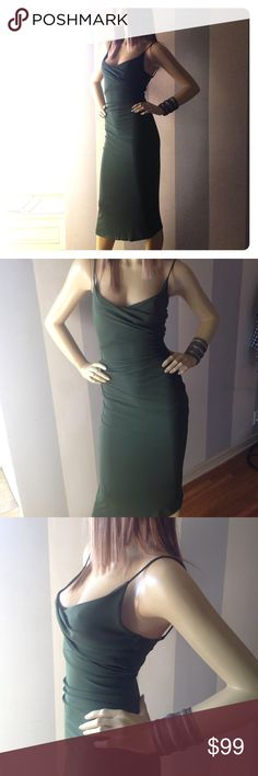 """DVF Diane von Furstenberg  olive dress 6 Spaghetti straps and sexy asymmetrical hem, lovely drape. Pullover with some stretch. Mannequin is sz 6 and 5'9"""" Diane von Furstenberg Dresses"""