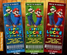 FREE Printable Super Mario Bros Birthday Party Invitation Super