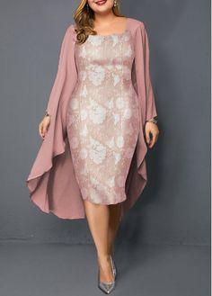 Plus Size Dresses Pink Plus Size Chiffon Cardigan and Sheath Dress Plus Size Dresses, Sexy Dresses, Plus Size Outfits, Dresses For Sale, Fashion Dresses, Dresses Online, Fashion Clothes, Tunic Dresses, Mob Dresses