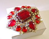Brilliant Red Czech Brooch Glass & Clear Rhinestones ABs Huge Vintage