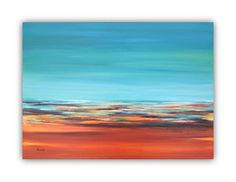 """Abstract oil painting - Original abstract landscape oil painting - orange, sienna, blue, turquoise, green, grey - 19,7"""" x 27,6"""" on Etsy, $225.00"""