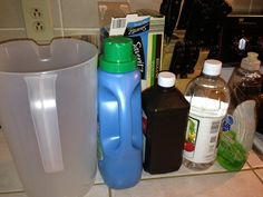 DIY Carpet cleaner for a machine. 1 gallon hot water 1/2 cup peroxide 4 Tbsp white vinegar 4 Tbsp dish soap(non bleach) 1/2 cap fabric softener  Stir slowly then add to machine as directed by manufacture. (I used a rented Bissell)