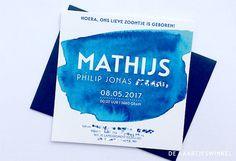 © dekaartjeswinkel.nl Watercolor geboortekaartje voor Mathijs. Een kaartje wat naar wens aangepast kan worden! #geboortekaartje #dekaartjeswinkel #babyboy #birthannouncement #card #baby #watercolor #watercolour #aquarel #blue #blauw