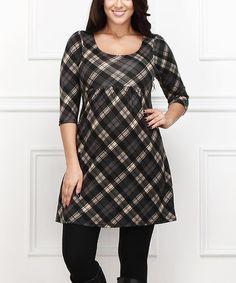 Look what I found on #zulily! Black & White Plaid Empire-Waist Dress - Plus #zulilyfinds