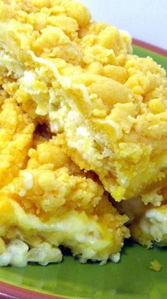 Pineapple Cream Cheese Bars... Only a few ingredients, uses a store bought cake mix with a sweet tropical cream cheese center, these are my favorite cookie bars!