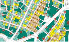 El Viso, Madrid. Lot area (in sq m). Red circles are proportional to the residential floor area for each lot
