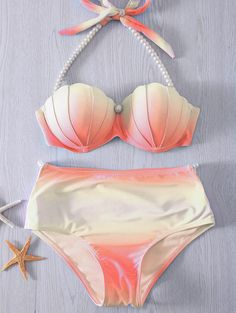 Pearl Embellished Halter Neck Tie Dye Bikini Set For Women