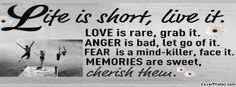 Life is short live it. Love is rare, grab it. Anger is bad, let go of it. fear is a mind-killer, face it. Memories are sweet cherish thew.