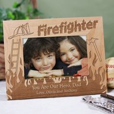 personalized firefighter wood picture frames pictureframes give your favorite fireman this handsome personalized firefighter
