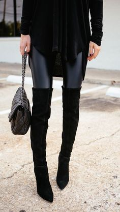 black on black - suede and leather