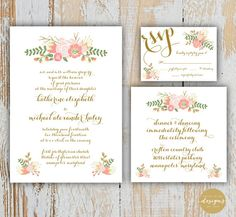This beautiful, floral, wedding invitation package would be perfect for a spring, summer, or fall wedding!    This listing includes digital