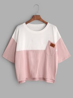 Color Block Dip Hem T-shirt Only US$9.00