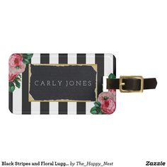 Black Stripes and Floral Luggage Tag