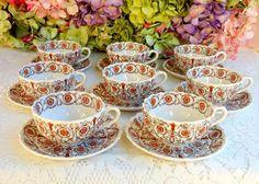 8 Beautiful Vintage Copeland Spode Cups Saucers ~ Sorrento ~ Floral ~ Scrolls #CopelandSpode