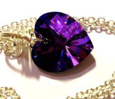 Heart Necklace Heliotrope Swarovski Jewelry by FaithHopeInspire, $30.00