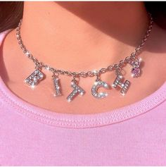Harajuku Letter Crystal Angel Necklace Women Jewelry Couple Gift Neckl – hkying Don the wristbands, Boujee Aesthetic, Bad Girl Aesthetic, Aesthetic Collage, Aesthetic Vintage, Aesthetic Pictures, Aesthetic Grunge, Baby Pink Aesthetic, Aesthetic Women, Aesthetic Outfit