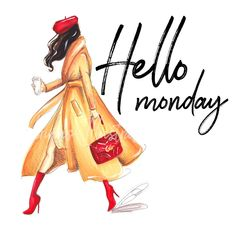 Daily Illustration:Hello Monday Portrait Sketches, Art Sketches, Hello Monday, Monday Monday, Mondays, Girly M, Fashion Wall Art, Illustration Girl, Inspirational Message