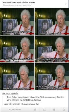 Tom Baker!! This man how can you not love him!? Definitely my favorite classic doctor. :)