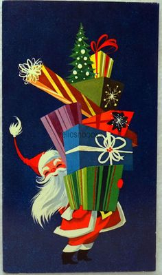 #25 60s Mid Century Santa w/ Gifts, Vintage Christmas Card-Greeting