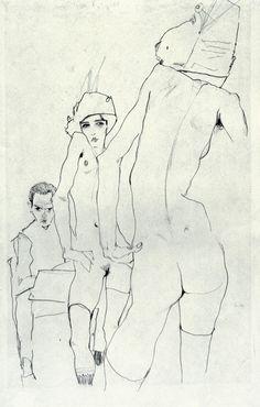 """Artist: Egon Schiele ~ """"Drawing a Model in front of a Mirror"""" Life Drawing, Figure Drawing, Drawing Sketches, Painting & Drawing, Art Drawings, Egon Schiele Zeichnungen, Egon Schiele Drawings, Kunst Online, Art Et Illustration"""