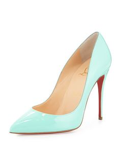 Pigalle Follies Patent Point-Toe Red Sole Pump, Opaline Turquoise by Christian Louboutin at Bergdorf Goodman.