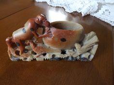 Old Carved Chinese Ink Brush Holder. Monkey and Ravens. Jadite/Jade
