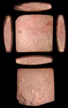 """Protoliterate TabetSumerian, ca. 3100-2900 BC (late Uruk; Early Dynastic I-II)Red stoneFrom a unique group of early documents recording the transfer of land  (in this case one """"b'uru""""- about 150 acres), this tablet illustrates the  transition from a writing system based on pictures to one where signs  represent sounds. The vase and foot are easily recognized but represent  sounds rather than objects. In the bottom row, the two wavy lines  sprouting plants is the sign for garde..."""