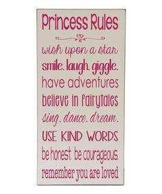 'Princess Rules' Plaque