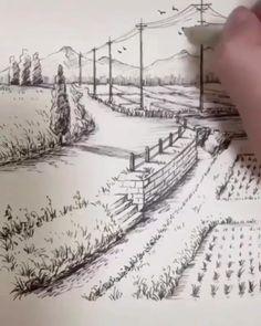 Pencil Sketches Landscape, Landscape Drawings, Art Drawings Sketches Simple, Pencil Art Drawings, Drawing Art, Drawing Ideas, House Drawing, Road Drawing, Pencil Sketches Of Nature