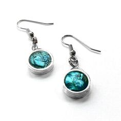 Teal Earrings Silver Dangle Earrings Teal by LoralynDesigns, $30.99