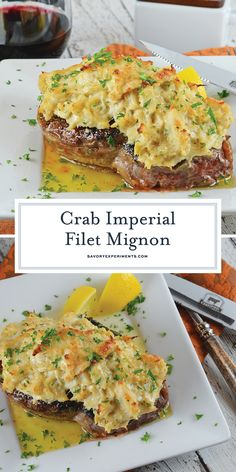 Crab Imperial Filet Mignon is an easy dish perfect for special occasions! Tender… Crab Imperial Filet Mignon is an easy dish perfect for special occasions! Tender beef topped with buttery crab! A luscious crab recipe! Crab Dishes, Beef Dishes, Seafood Dishes, Lobster Dishes, Seafood Platter, Crab Meat Recipes, Beef Recipes, Cooking Recipes, Grilled Recipes