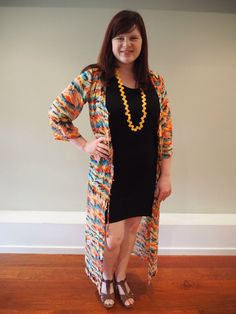 black t-shirt dress styled in oranges