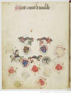 « Registre d'armes » ou armorial d'Auvergne, dédié par le hérault Guillaume REVEL au roi Charles VII.  Date d'édition :  1401-1500  Français 22297  Folio 92