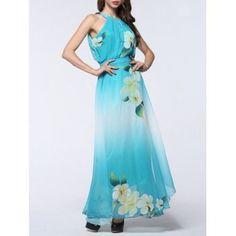 9297b5ffbf44 Boho Floral Maxi Chiffon Flowy Beach Dress - LIGHT BLUE 2XL