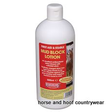 Equimins Mud Block Lotion Much easier to apply to heavy feathering around the base of the leg.