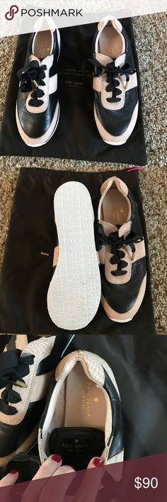 Kate Spade tennis shoes Kate Spade black and pink (pinkish nude is how I would describe it) leather tennis shoes..Very gently worn..Comes with the dust bag but I don't have the box.. Shoestrings are ribbon material.. kate spade Shoes Sneakers