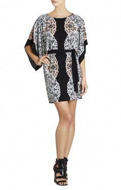 b2015a47d340 $128 BCBG LOIS KIMONO-SLEEVE PRINTED DRESS BLACK Latest Fashion Dresses,  Trendy Dresses,