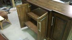 breakfront buffet in fumed oak finish - pull out sliding shelves behind doors