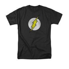 The Flash Lightning Bolt Distressed Logo BLACK Adult T-Shirt - The Flash - | TV Store Online
