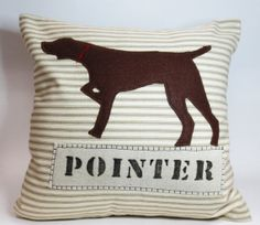 Brown Pointer Silhouette Pillow - Beige Ticking Stripe - Decorative Accent Throw Pillow Cushion Cover