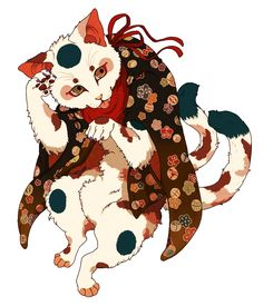 Nekomata, two-tailed cat yōkai (supernatural creature) of folklore and classical kaidan | ニャア | 夜鷹 [pixiv] http://www.pixiv.net/member_illust.php?mode=medium&illust_id=29587646
