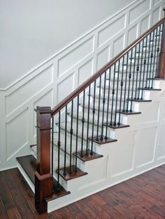 Top 60 Best Stair Trim Ideas Staircase Molding Designs is part of Stairs trim - From modern flush baseboard to classic chair rail styles, discover the top 60 best stair trim ideas Explore staircase interior molding designs Staircase Molding, Stairway Wainscoting, Stairs Trim, House Stairs, Stair Railing, Staircase Design, Stair Trim Ideas, Basement Stairs, Craftsman Staircase